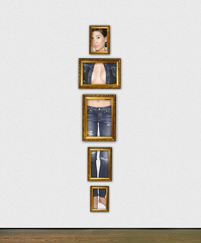 Magritte Girl in Gold Frames